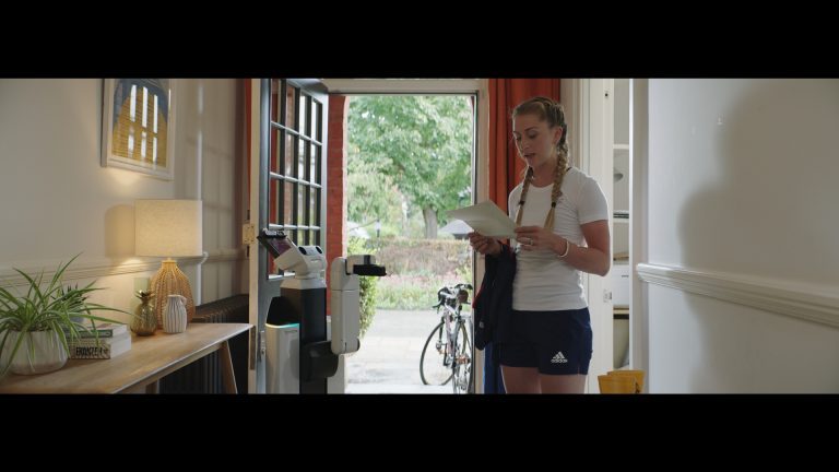 Olympic cyclist Laura Kenny with the Toyota Human Support Robot in a shot from new short film