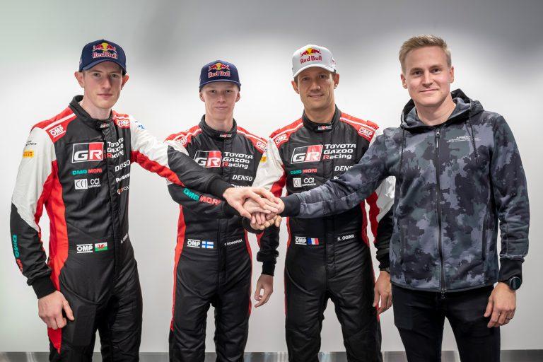 From left to right. Elfyn Evans, Kalle Rovanperä, Sébastien Ogier, Esapekka Lappi